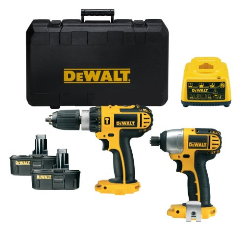 Dewalt DCX424A2 DC725 18 Volt Combi Drill and DC827 18 Volt Impact Driver with 2 x 18 Volt 1.3 Ah NiCd Batteries and Case