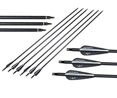 Huntingdoor-12pcs-Archery-31-Carbon-Arrows-with-Replacement-Screw-in-Field-Points-for-Recurve-Bow-and-Compound-Bow