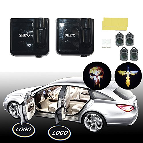 SHE'O® 1 pair Rust Bloody Punisher Skull ghost Wireless Magnetic car door LED logo projection projector welcome shadow ghost light+2pcs Skull Cross Sword Logo slides