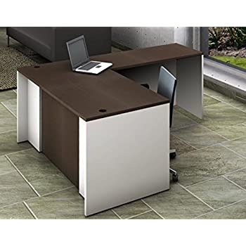 Office Reception Desk Reception Corner Collaboration Furniture Model 4290 2 Pc Group Contemporary White/Espresso color. Update Your Spaces with Commercial Grade Reception Collaboration Furniture.