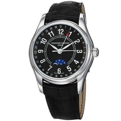 Frederique Constant Men's FC-330B6B6 Index Black Leather Strap Watch