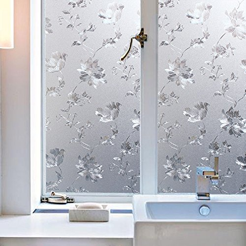 17.7-Inch by 78.7-Inch/45cm×200cm 3D Refractive No-Glue Static Decorative Privacy Window Film with Cotton Rose Design (Front Door Glass Cover compare prices)