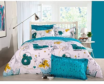 Sisbay Graffiti Printed Duvet Cover,White Blue Bedding,Gorgeous Boy Girl Bed Set,Twin Queen King Size