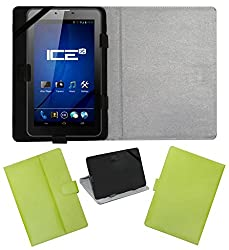 ACM LEATHER FLIP FLAP TABLET HOLDER CARRY CASE STAND COVER FOR ICE SPECTRA PLUS + 3G GREEN