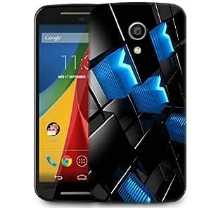 Snoogg Abstract Blue V Design Designer Protective Phone Back Case Cover For Motorola G 2nd Genration / Moto G 2nd Gen