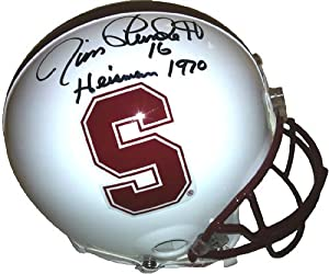 Jim Plunkett Signed Stanford Cardinals Authentic Pro Line Helmet Heisman 1970 by Radtke+Sports