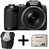 Nikon Coolpix L310 Digital Camera - Black + Case and 8GB Memory Card (14.1MP, 21x Optical Zoom) 3 inch LCD