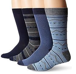 Lucky Men's 4 Pair Pack Native Geo Crew Socks, Denim, 10-13/Shoe Size 6-12