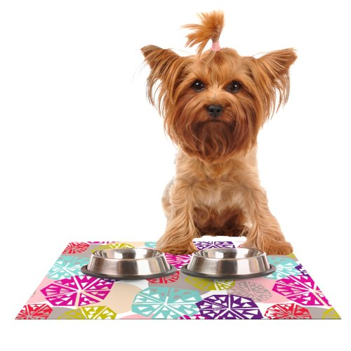 kess-inhouse-agnes-schugardt-pie-in-the-sky-rainbow-abstract-feeding-mat-for-pet-bowl-24-by-15-inch