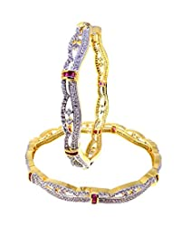 Aabhushan Jewels Ruby Look Gold Plated American Diamond Bangles For Women - B00WUEOS5M