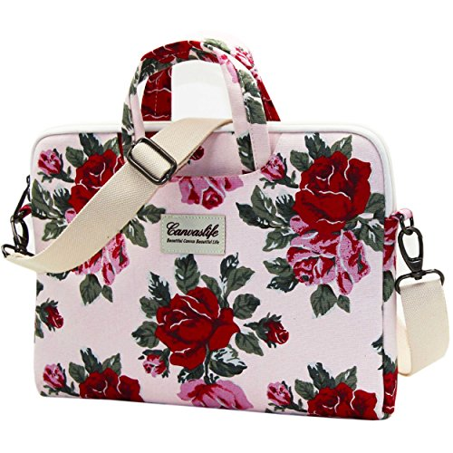 04. Canvaslife Pink Flower Laptop Shoulder Bag 11.6 Inch/ 12.5 Inch; 13.3 Inch Laptop Briefcase for Macbook Air 11/