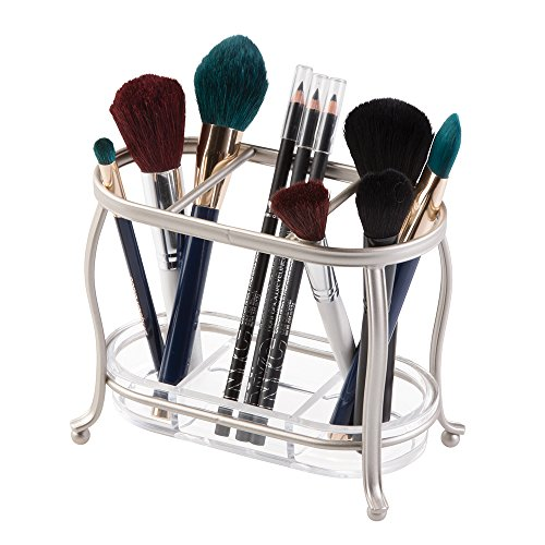mDesign Traditional Cosmetics and Makeup Brush Holder for Bathroom Vanity Countertops - Satin/Clear