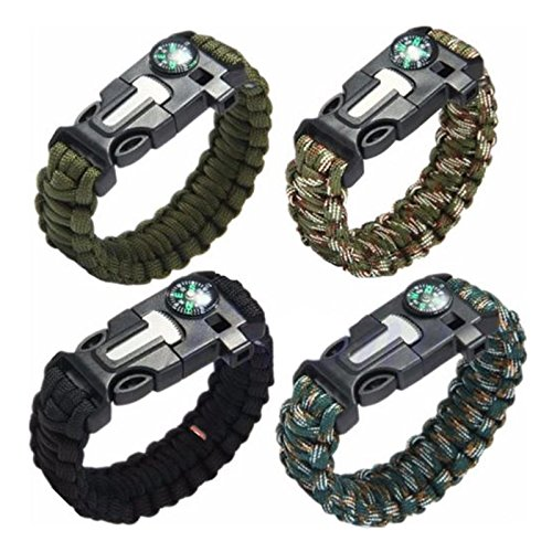 4PCS Survival Bracelet,McFancy Adventure Paracord Survival Bracelet Includes Fire Starter,Campass,Whistle Kits, Knife,Scraptor for Hiking Camping Emergency