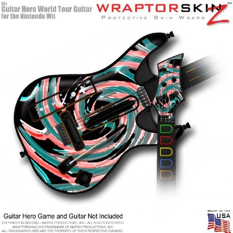 Alecias Swirl 02 Skin fits Band Hero, Guitar Hero 5 & World Tour Guitars for Nintendo Wii (GUITAR NOT INCLUDED) by WraptorSkinz TM - (OEM Packaging)