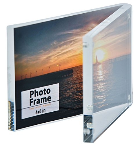 clear acrylic magnet photo frame block 4x6 by nicom new ebay. Black Bedroom Furniture Sets. Home Design Ideas