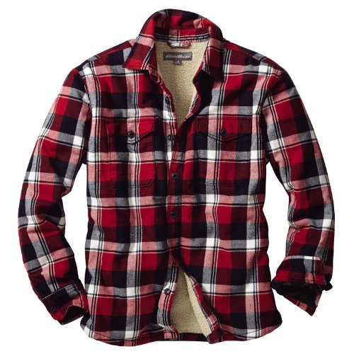 (エディー・バウアー) Eddie Bauer 長袖ラギッドツイルシェルパラインシャツジャケット(スカーレット XL)