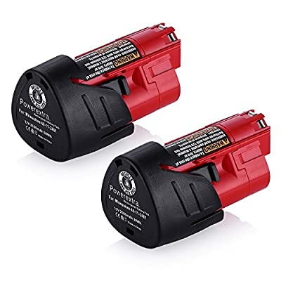Powerextra 2 Pack 12V 2500mAh Lithium-ion Replacement Battery for Milwaukee M12 Milwaukee 48-11-2411 REDLITHIUM 12-Volt Cordless Milwaukee Tools Milwaukee 12V Lithium-ion Battery from Powerextra
