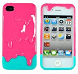 Rose Red 3D Melt ice-Cream Hard Case Skin Cover for iPhone 4 4G 4 S