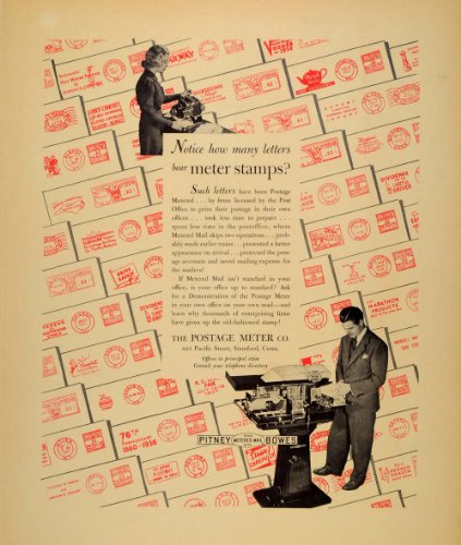 1938 Ad Metered Mail Postage Meter Stamp 842 Pacific St - Original Print Ad