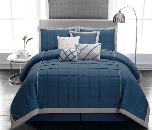 8 Piece King Glendale Blue Comforter Set front-1002354