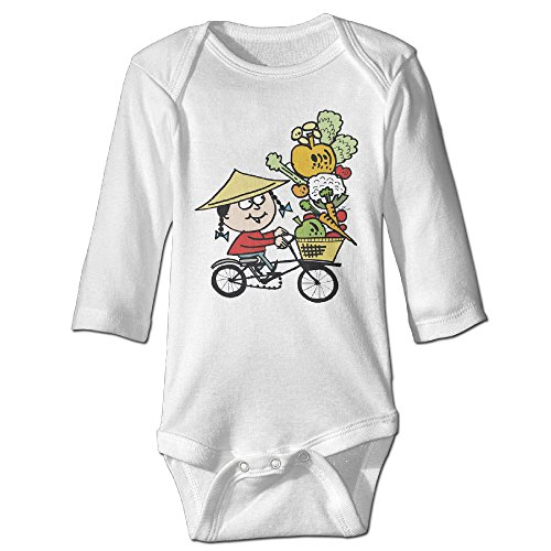 [Cartoon Asian Bicycle Vegetables Cute Boy And Girl Infants Romper Jumpsuit 18 Months White] (Dances With Wolves Costumes Designer)