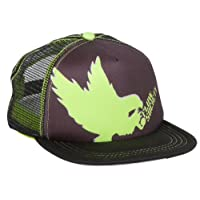 Flow Society Authentic Lacrosse Gear Lax Eagle Trucker Foam and Mesh snapback 100% Polyester size small black neon green