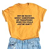 LOOKFACE Women T-Shirt Cotton Letters Top Junior Tees Yellow Medium