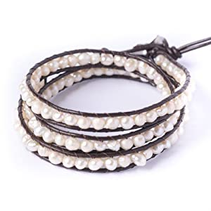 81stgeneration New white pearl silver bead leather 3 line wrap friendship bracelet