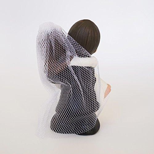 Cute Mini Wedding Couple Bride & Groom Decor Figurine Poly Resin Statue (Dark Brown Hair w/ Light Complexion)