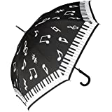 RainStoppers W042 Auto Open Piano Print Arc Umbrella With Hook Handle Black White 46