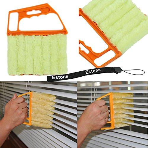 Estone® Microfibre Venetian Blind Brush Window Air Conditioner Duster Clean Cleaner (Orange) front-68102