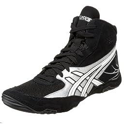 ASICS Men\'s Cael Wrestling Shoe,Black/Silver/White,10 D US