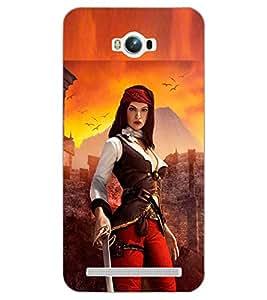 PrintDhaba SWORD GIRL D-7006 Back Case Cover for ASUS ZENFONE MAX ZC550KL (2016) (Multi-Coloured)