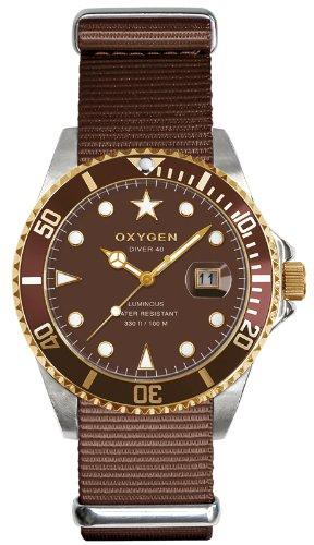 Oxygen EX-D-GOL-40-BR EX-D-GOL-40 - Reloj analógico de cuarzo unisex, correa de tela color marrón (agujas luminiscentes)