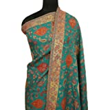 Ibaexports Teal Blue Kani Pure Wool Shawl Stole Pashmina Kashmir Wrap Scarf India Women 80