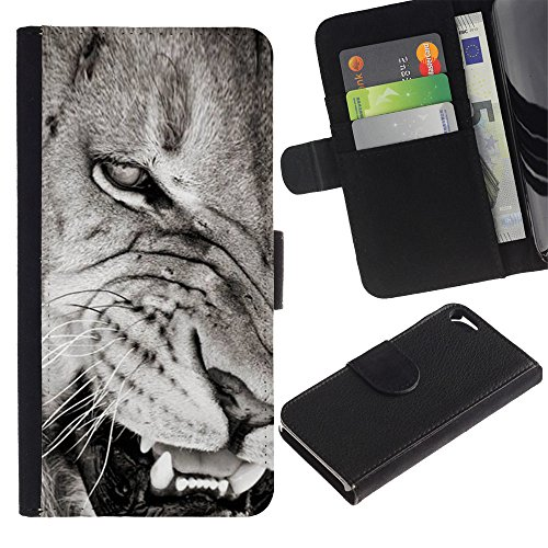 Stuss Case / Custodia In PU Pelle - Angry Lion Teeth Black White Nose - Apple Iphone 5 / 5S