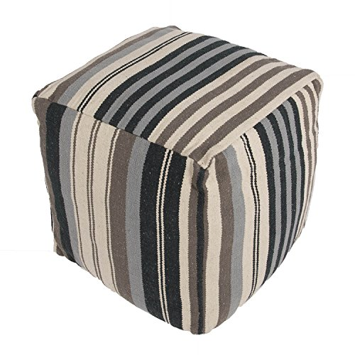 "Jaipurrugs Furniture Decor Ottomans Handmade Cad08 Pouf Cotton Black/Gray Pouf Border Color White 18""X18""X18"""
