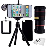 iPhone 4/4S Camera Lens - 8x Telephoto Lens, Mini Tripod, Universal Phone Holder, iPhone Case 4/4S, and Accessories (Black)