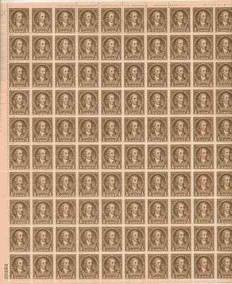 George Washington Sheet of 100 x 0.5 Cent US Postage Stamps NEW Scot 704