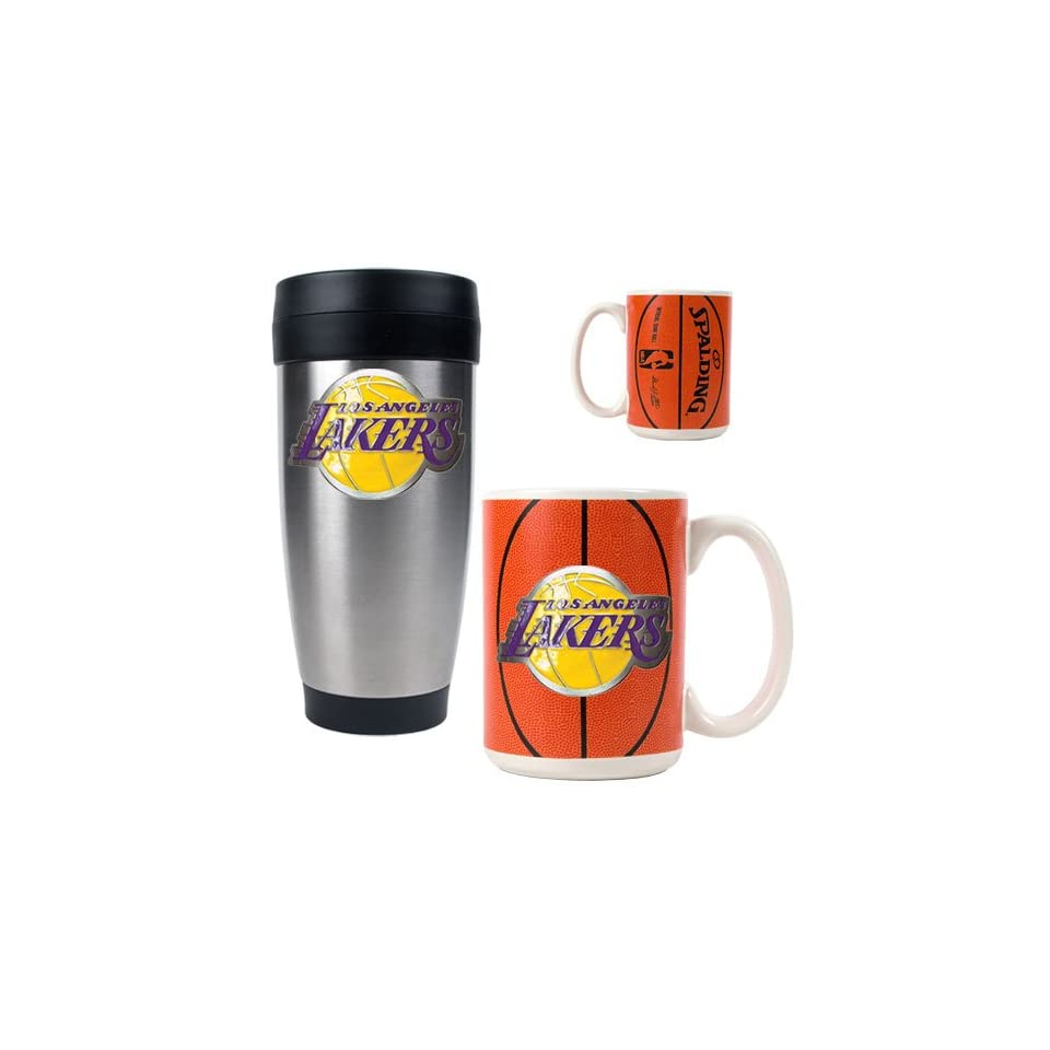 Los Angeles Lakers NBA Stainless Steel Travel Tumbler   Game ball Ceramic  Mug Set Primary Logo 68965778a