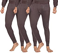 Dora Men's Fleece Thermal Pants (Pack of 3, 3006-Bottom-Brown_90, Brown, 90)