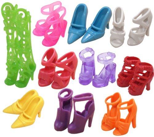 10 pares de zapatos de la muñeca, ajuste las muñecas Barbie (exactamente como en la foto)