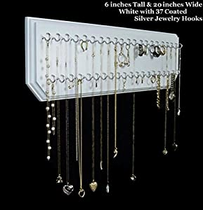 Amazon Com 6x20 White 37 Silver Jewelry Organizer Necklace Holder Hanging Wall Display