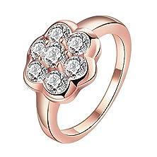buy Adina R162B Simple Design Flower Zircon Pink 18K Rose Gold Plated Ring