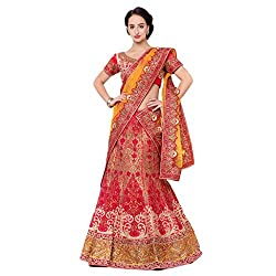 Suchi Fashion Red Silk Embroidered Circular Lehenga Choli