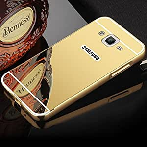 Droit Luxury Metal Bumper + Acrylic Mirror Back Cover Case for Samsung J3 By Droit Store + Flexible Portable Thumb OK Stand by Droit Store.