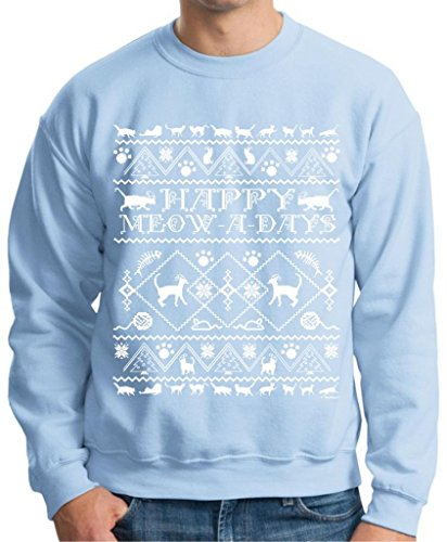 Happy Meow A Days Ugly Christmas Sweater With Cats Premium Crewneck Sweatshirt 2Xl Light Blue