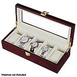 #10: Wooden 5 Slots Wrist Watch Storage Box Display Case Organizer with Cherry Finish and Glass Window ( 26 X 12 X 9 CM) by Kurtzy