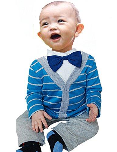 Baby Boys Infant Gentleman 1 Pc Cotton Stripe Tie Long-Sleeved Jumpsuit Romper (95(2-3Years), Blue)