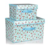Household Essentials Storage Bin with Handles Nested Boxes with Lids, Aqua, Set of 2